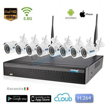 kit videosorveglianza wireless senza fili 8 telecamere 1080P