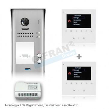 videocitofono bifamiliare completo di pulsantiera e 2 monitor 3,5' collegamento due fili non polarizzati su linea BUS. kit Videocitofoni professionali 2 fili per ville o condomini. Funzione Trasferimento GSM, Registrazione in Memoria, Interfono tra appart