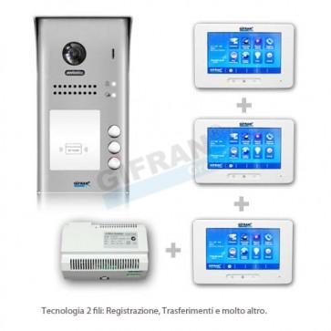 videocitofono 2 fili kit pulsantiera e 3 monitor 7 pollici Touch screen, collegamento due fili non polarizzati su linea BUS