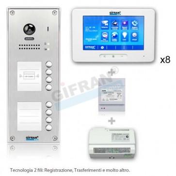kit videocitofono 8 appartamenti professionale collegamento 2 fili