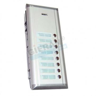 Pulsantiera videocitofono supplementare 8 appartamenti per collegamento 2 fili non polarizzati su linea BUS.