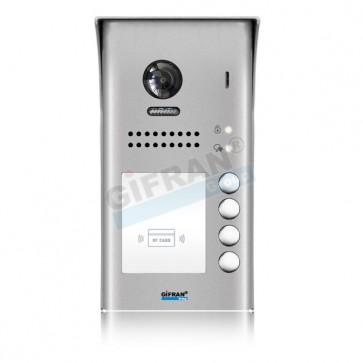 Pulsantiera videocitofono 2 (due) fili quattro appartamenti. Pulsantiera in alluminio con lettore di prossimità apri porta per impianti videocitofoni professionali per ville e condomini.