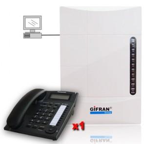 Kit centralino telefonico 8 interni 3 linee programmabile da PC telefoni panasonic