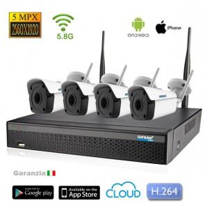 kit videosorveglianza wireless senza fili 4 telecamere 5 Mega pixel