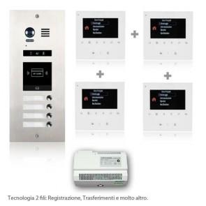 kit videocitofono quadrifamiliare con telecamera 180°