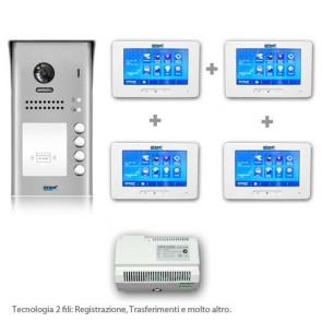 videocitofono quadrifamiliare kit completo