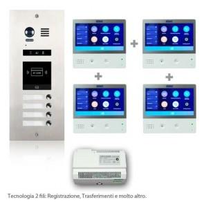 Kit videocitofono quadrifamiliare con pulsantiera incasso