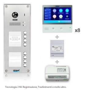 Kit videocitofono 8 appartamenti 2 fili con monitor WIFI