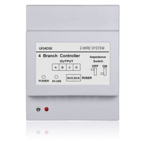 Videocitofono 2 fili distributore 4 uscite linea BUS per collegamento monitor o pulsantiere esterne in cascata.